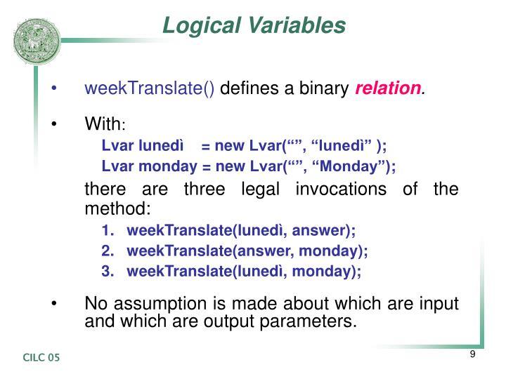 Logical Variables