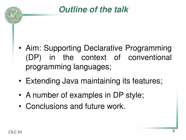 Outline of the talk