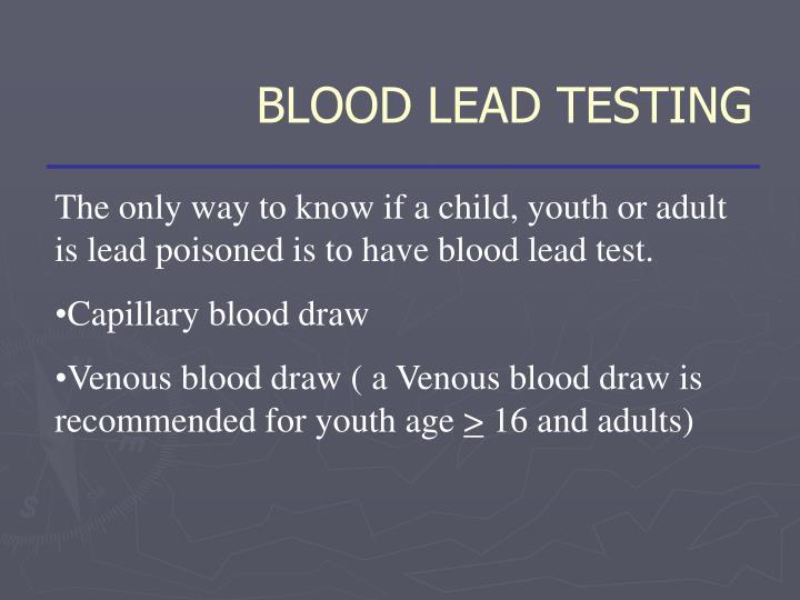 BLOOD LEAD TESTING
