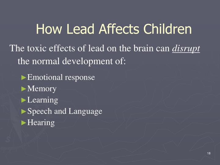 The toxic effects of lead on the brain can