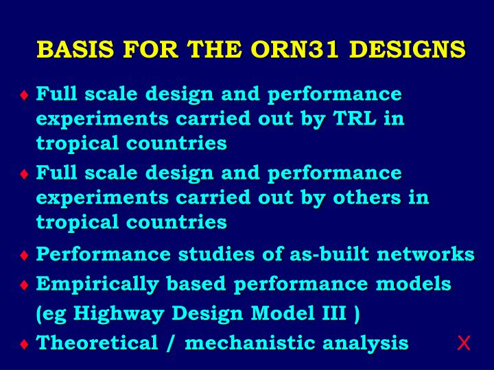 BASIS FOR THE ORN31 DESIGNS