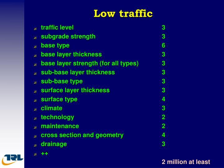 Low traffic