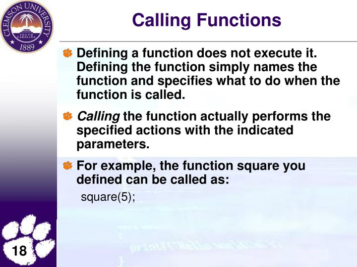 Calling Functions