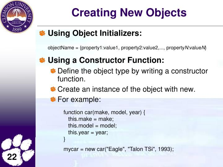 Creating New Objects