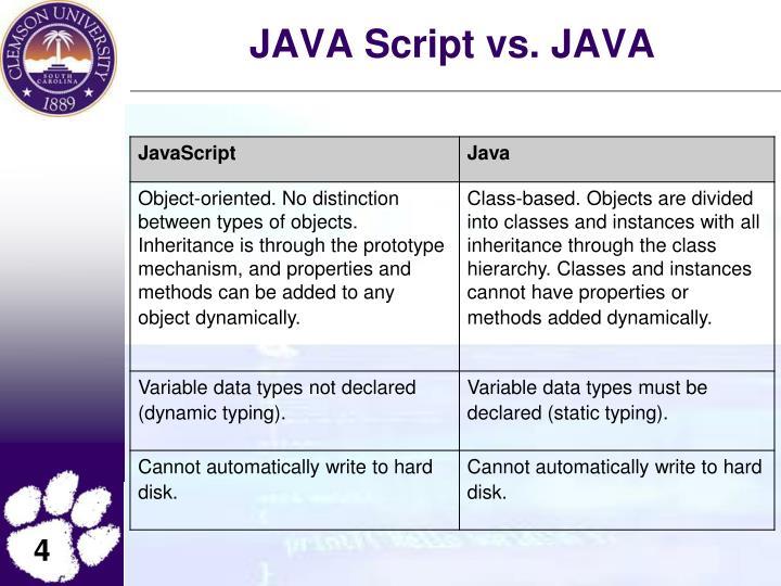 JAVA Script vs. JAVA