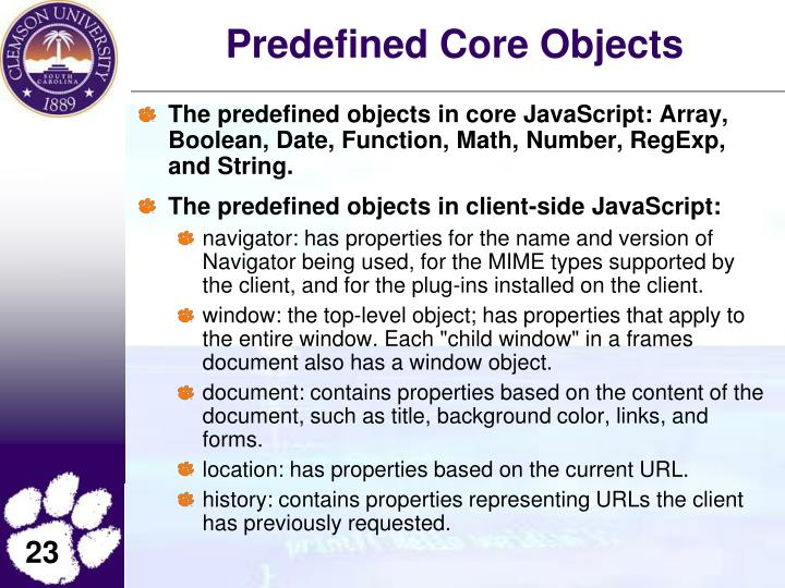 Predefined Core Objects