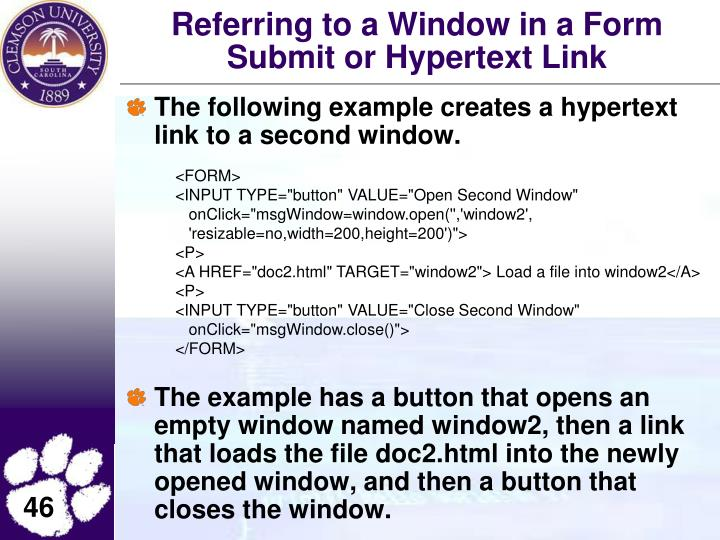 Referring to a Window in a Form Submit or Hypertext Link