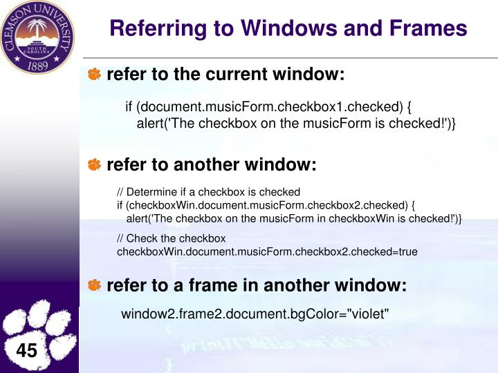 Referring to Windows and Frames