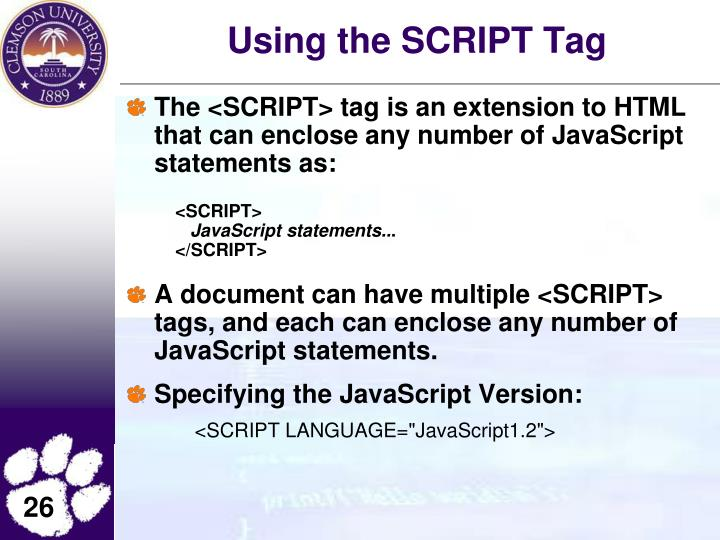 Using the SCRIPT Tag