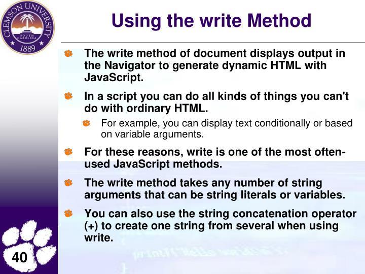 Using the write Method