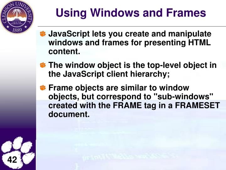 Using Windows and Frames