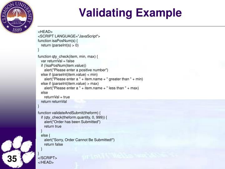 Validating Example