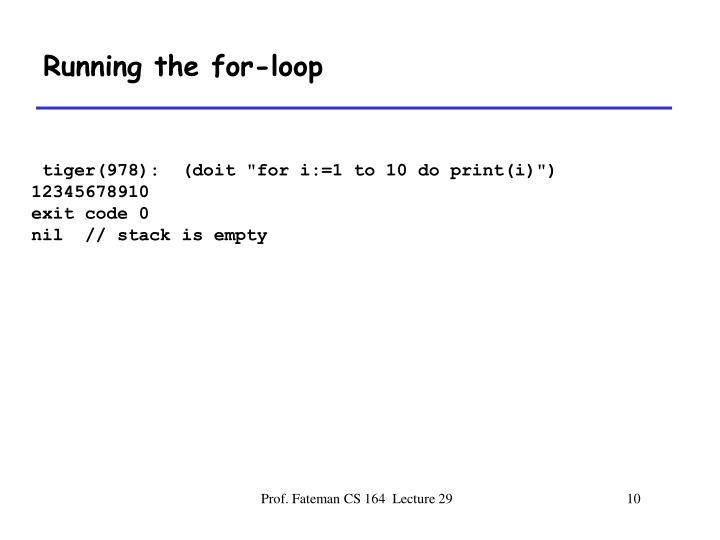 Running the for-loop