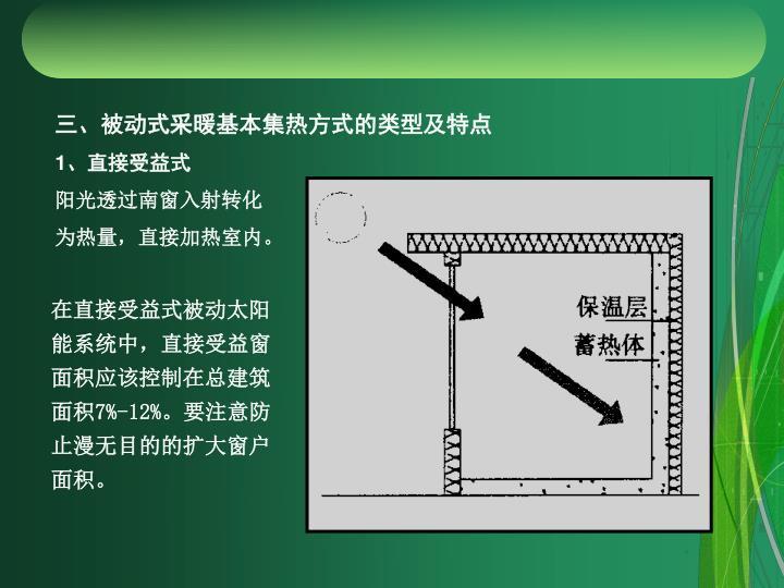 三、被动式采暖基本集热方式的类型及特点
