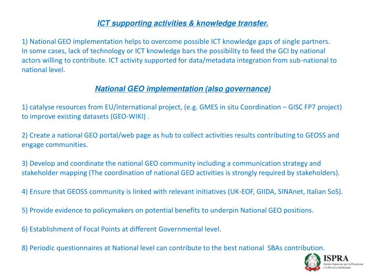ICT supporting activities & knowledge transfer.
