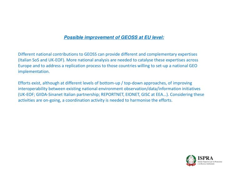 Possible improvement of GEOSS at EU level: