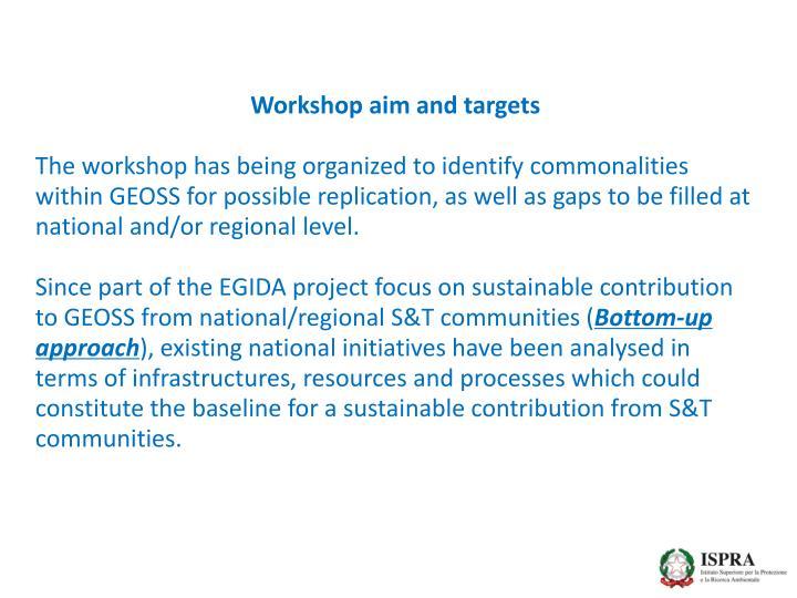Workshop aim and targets