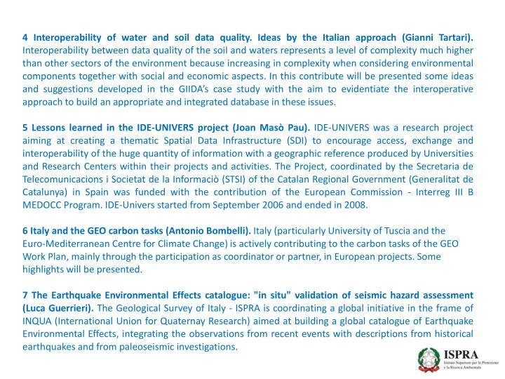 4 Interoperability of water and soil data quality. Ideas by the Italian approach (Gianni Tartari).