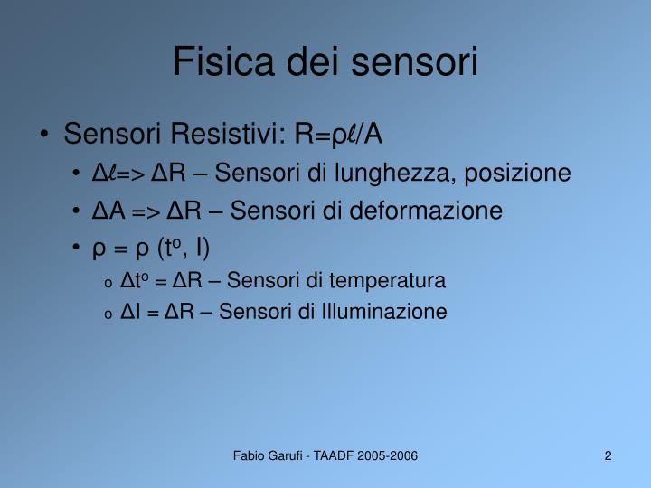 Fisica dei sensori