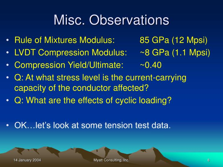 Misc. Observations