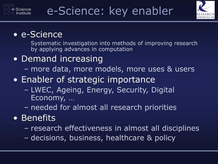 e-Science: key enabler