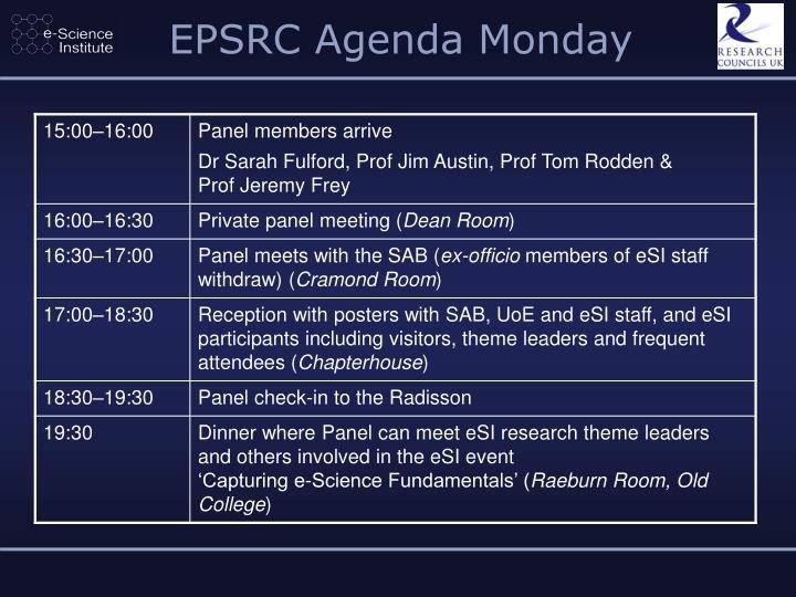 EPSRC Agenda Monday