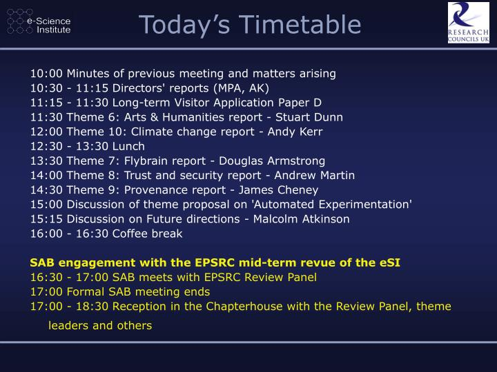 Today's Timetable