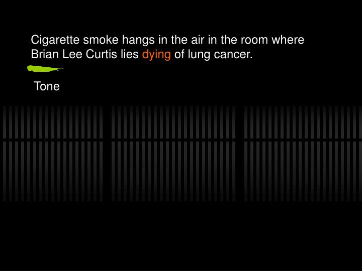 Cigarette smoke hangs in the air in the room where Brian Lee Curtis lies
