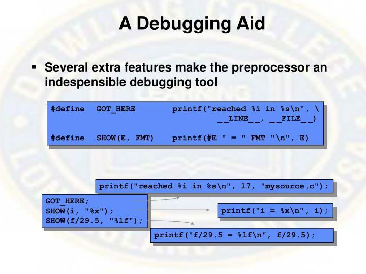 A Debugging Aid