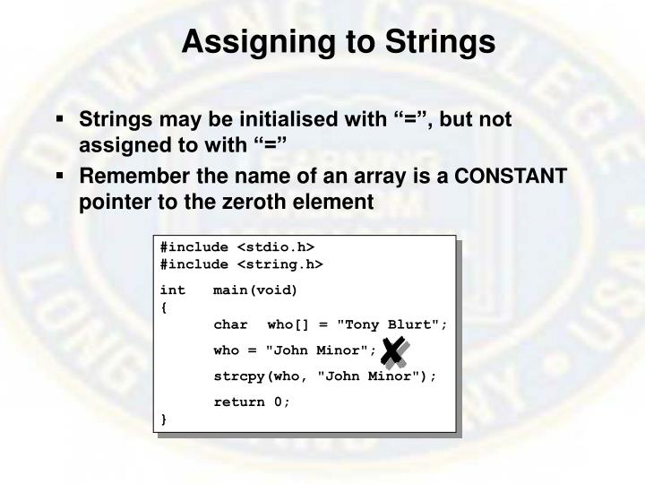 Assigning to Strings