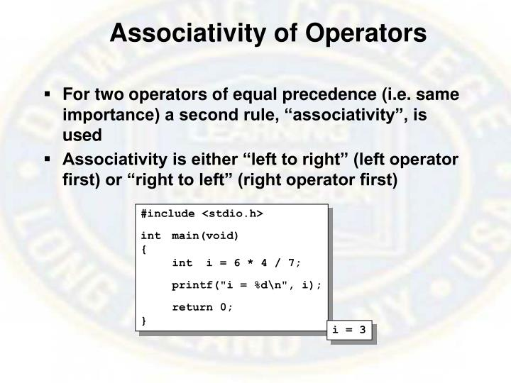 Associativity of Operators