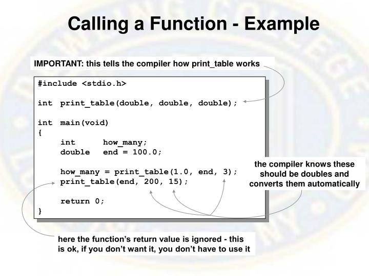 Calling a Function - Example