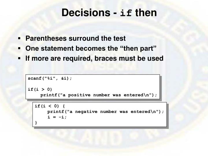 Decisions -