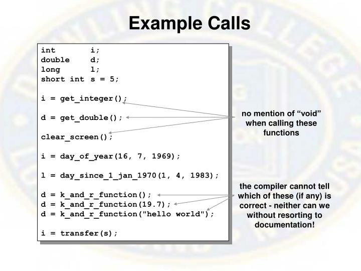 Example Calls