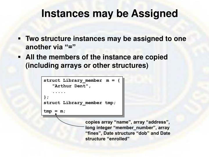 Instances may be Assigned