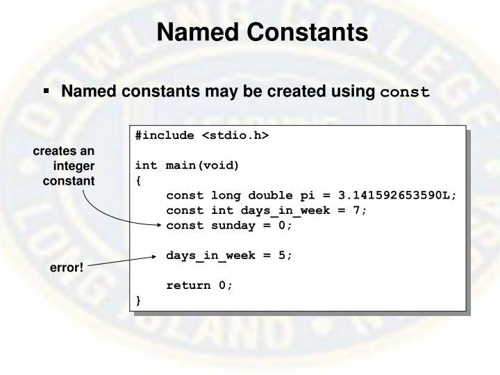 Named Constants
