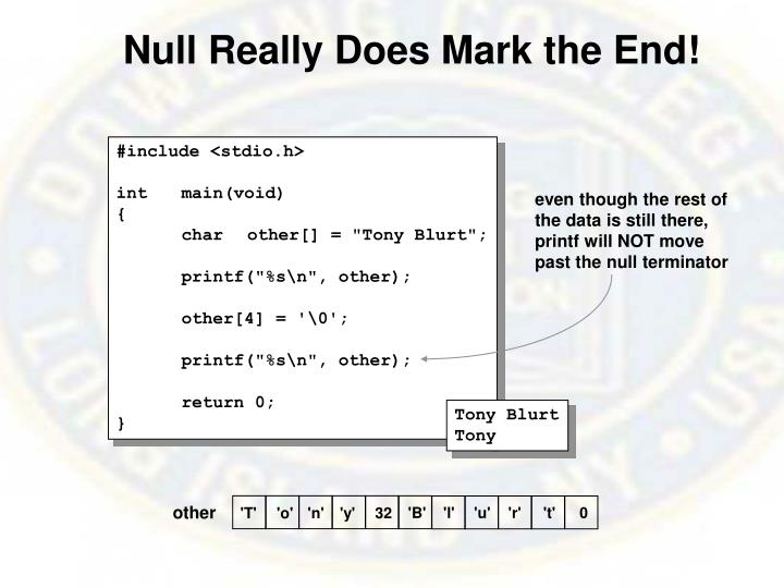 Null Really Does Mark the End!