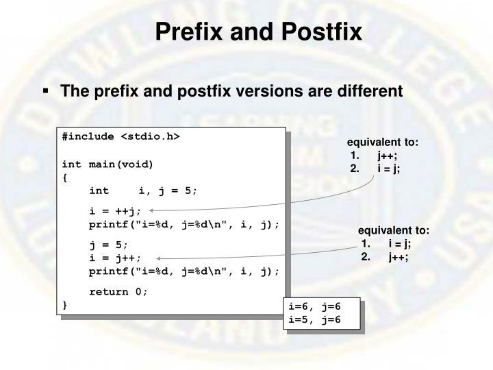 Prefix and Postfix