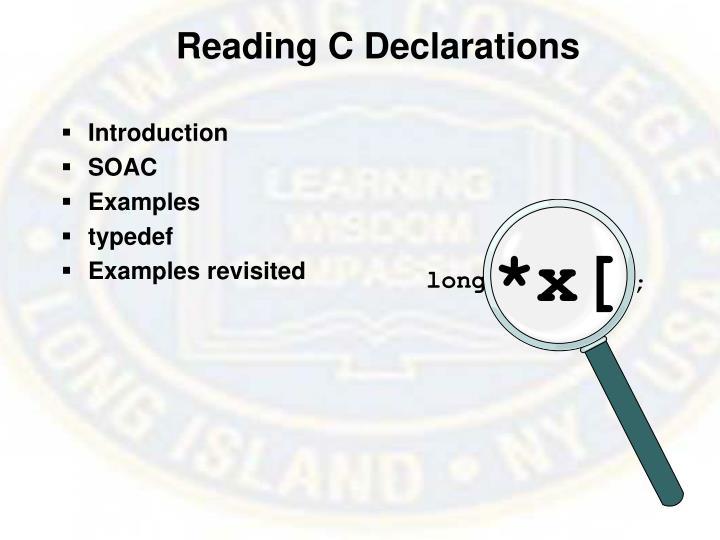 Reading C Declarations