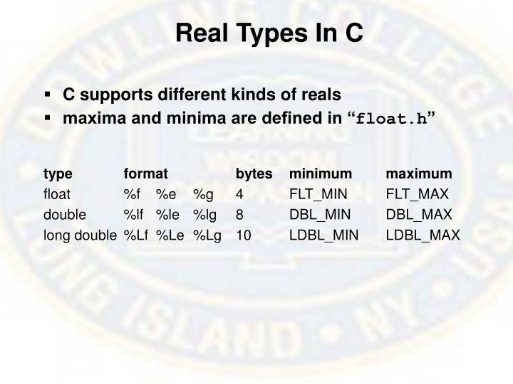 Real Types In C