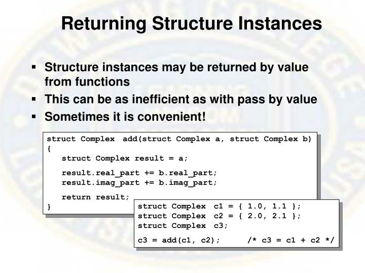 Returning Structure Instances