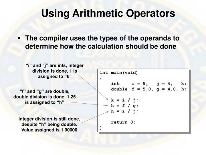 Using Arithmetic Operators
