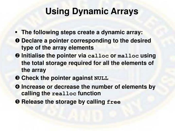Using Dynamic Arrays