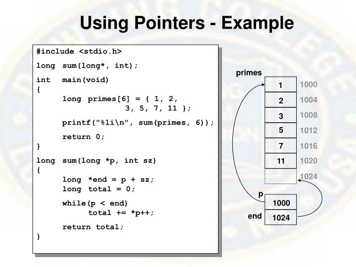 Using Pointers - Example