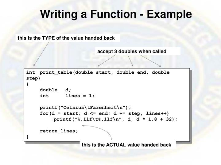 Writing a Function - Example
