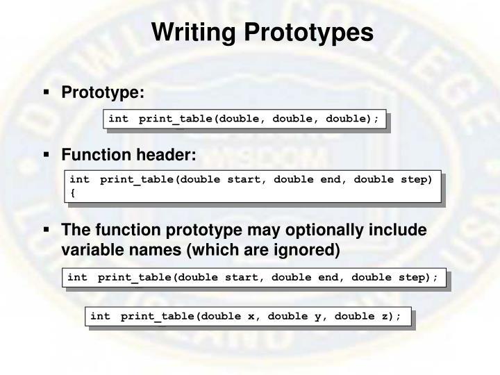 Writing Prototypes