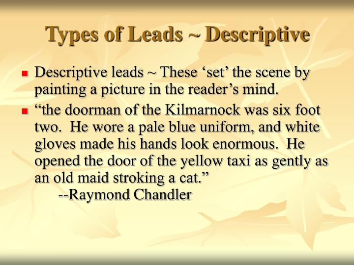 Types of Leads ~ Descriptive