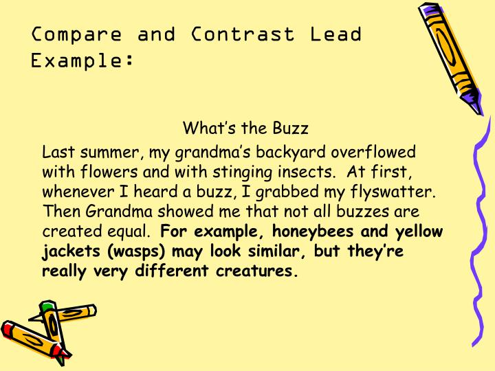 Compare and Contrast Lead Example: