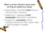 what a writer should create when writing an expository essay
