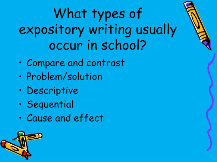 What types of expository writing usually occur in school?